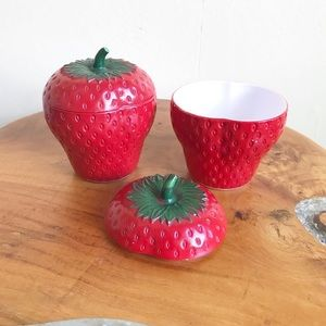 1930's Vintage Deco Strawberry Jam Jars Canisters